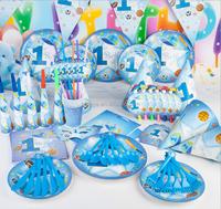 Blue Baby Boy Birthday Theme Party Tableware Set Baby Shower Decor 90pcs/set
