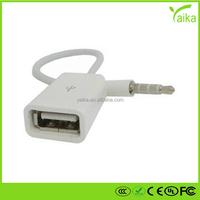 Yaika short 3.5mm male aux audio plug jack to usb 2.0 female usb cable