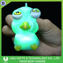 Kids Safety Penguin Shape Glowing LED Small Night Light, PVC Colorful Light Up LED Small Night Light With Eyes Squeeze Out