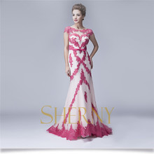2015 hot pink red short women's evening dress sexy free prom dress with OEM service