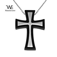 Separable Charm O Link Chain Silver Cross Accent Stainless Steel Necklace