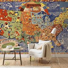 Kid room world map design home wallpaper exterior wall decorative mural customize