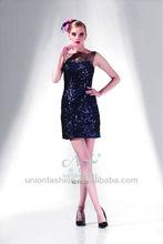 vestidos de noche cortos lentejuelas de 2014 único china con cuello alto vestido de noche de encaje pura