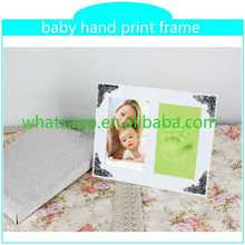 best selling handprint and footprint kit with frame funny wood photo frame with high quality