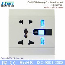 USB power 110v electrical outlet double USB wall socket 5V2.1A and 5V2.4A charging phones without chargers
