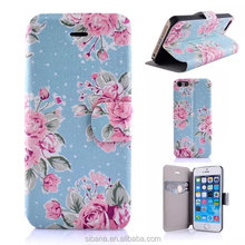 For iphone 5C leather case mobile phone case flower pattern wallet flip leather case for iphone 5C