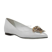 Celebrity Flats white heel shoes pointy toe skull embellished vamp new girls fashion design leather ballet flats
