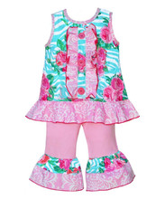 New fashion cotton baby girl beautiful pattens full sleeve and ruffle clothes outfits