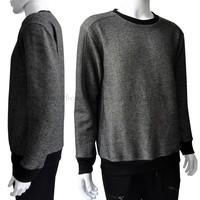 ribbed plain grey cotton jersey men crewneck sweatshirt