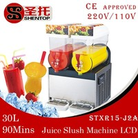 SHENTOP Slush Machine STXR15-J2A Double Cylinders with Compressor CE approved daiquiri machine ice Slush Machine for sale