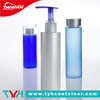 White plastic bottle, cosmetic container with pump