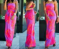 Fashion Long Printed Dress Sexy Strapless Dress