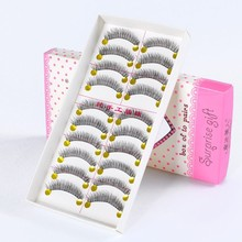 Professional 10 Pairs Natural False Eyelashes Black Cross Long Eye Lashes Magic Eyelash Extension Beauty Women Makeup Tool