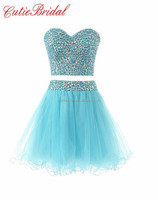 Crystals Party Dresses Corset Back Short Prom Dresses Two Pieces Homecoming Dresses