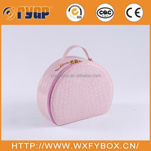 customized half round PU leather jewelry case and boxes with mirror