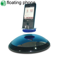High-tech rotating 360 degree semicircle base max load 300g floating cell phone retail display stands for showing