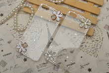 Transparent cover rhinestone flower phone cover case