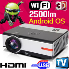 Android OS Home TheaterRed/blue 3D ready XGA HDMI LCD Video fulL HD 1080P Wifi LED 3D Projector Projetor Beamer