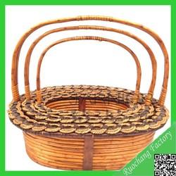 2015 Handmade wicker cat basket with handle/ gift basket/ fruit basket