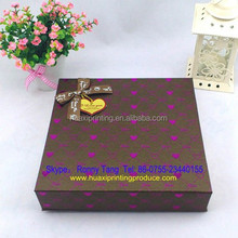 new hotsaler square brown empty package gift box for chocolate with a bowknot ribbon and dots manufacture in China