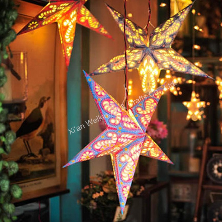 Hanging Paper Christmas Star With Light Buy Paper