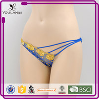 professional lingerie gloden sexy new design sexy lace g-string transparent panties