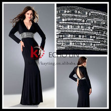 2015 New Arrival Sexy Open Back Elegant Long Sleeve Evening Dresses