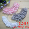 New pretty custom baby ruffle chiffon flower pearl fabric chiffon applique for clothing