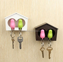 ABS lovers two birds in a house whistle keyring with adhesive back