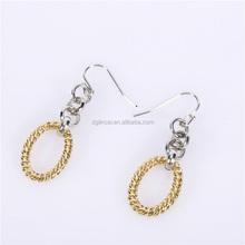 gold color round shape dangle pendant earring
