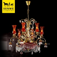 Famous brand Led 8 Lights Red wedding decoration Candle Bronze crystal ceiling light with mp3