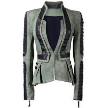 Women denim with leather sleebe warsity jacket pu leather contrast zip sleeves pleated tuxedo top jacket blazer