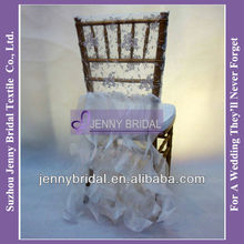 C126B1 new fancy ivory lace organza ruffle wedding chair covers