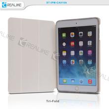for ipad mini 3 folio case with clear back shell, tri folded flip cover for ipad mini 3