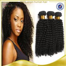 Double drawn weft tangle free shedding free chinese kinky curly hair, chinese hair kinky curly