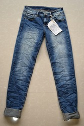 Wrinkled Denim Jeans Factory China Women Dark Blue Denim Trousers