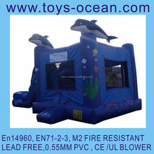 inflatable dolphin jumping castle with slide