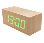 Desk Digital Jumbo LED Wood Clock Vintage Table Wooden Alarm Clock