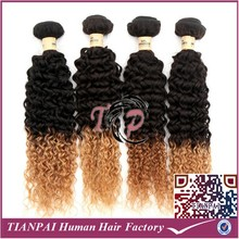 TP china hair factory cheap wholesale price human hair extension, ombre blonde 2 tone deep curly wavy brazilian human hair weave