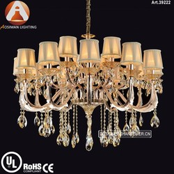 2 tier & 15 Light Antique Silver Crystal Light with Clear Crystal