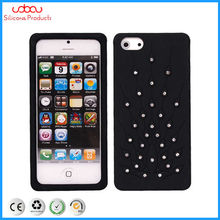 silicone phone case for iphone 4/4S/5G with crystal diamond