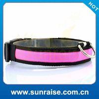 Cheap Wholesale weaving single optical led flashing cat&dog collar