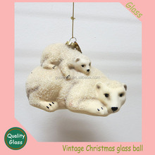 hand painted winter snow bear Christmas Ornament