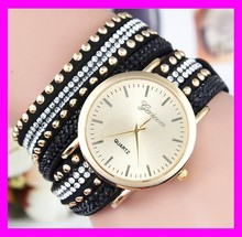 New design hot fashion women quartz leather band rhinestone diamond geneva watch HD1909