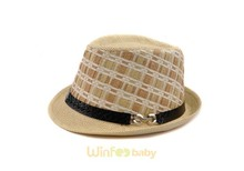 custom checked children kids baby boy jazz Fedora straw hat with leather belt