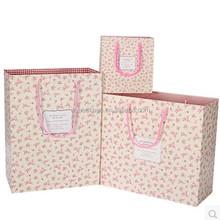 Flower printed custom paper foldable shopping bag for gift