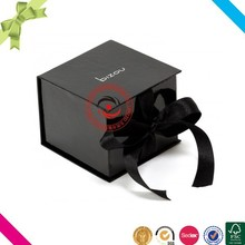 Alibaba china custom black gift box book shape with ribbon