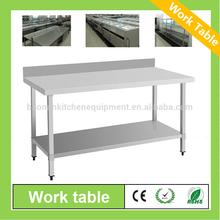 tamaño personalizado de cocina mesa de acero inoxidable con la pared posterior