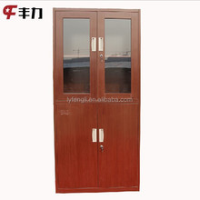 Modern wooden design office filing cabinet furniture with swing glass door