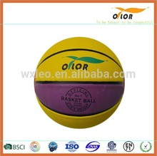 Yellow and purple official size and weight Size 7 PVC leather basketballs